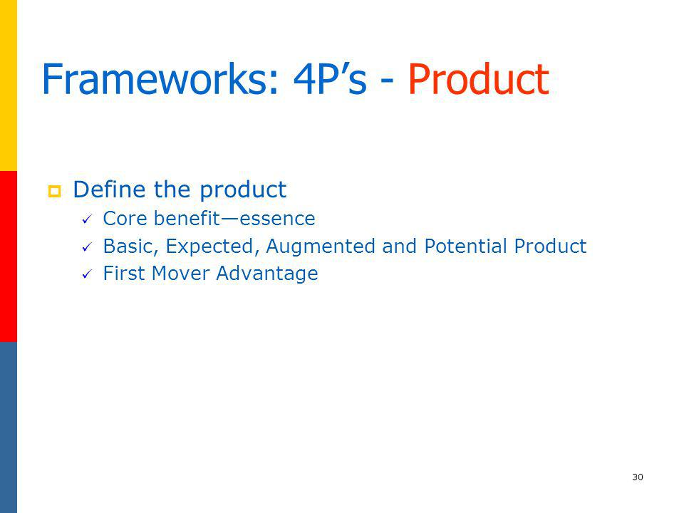 Frameworks: 4P's - Product