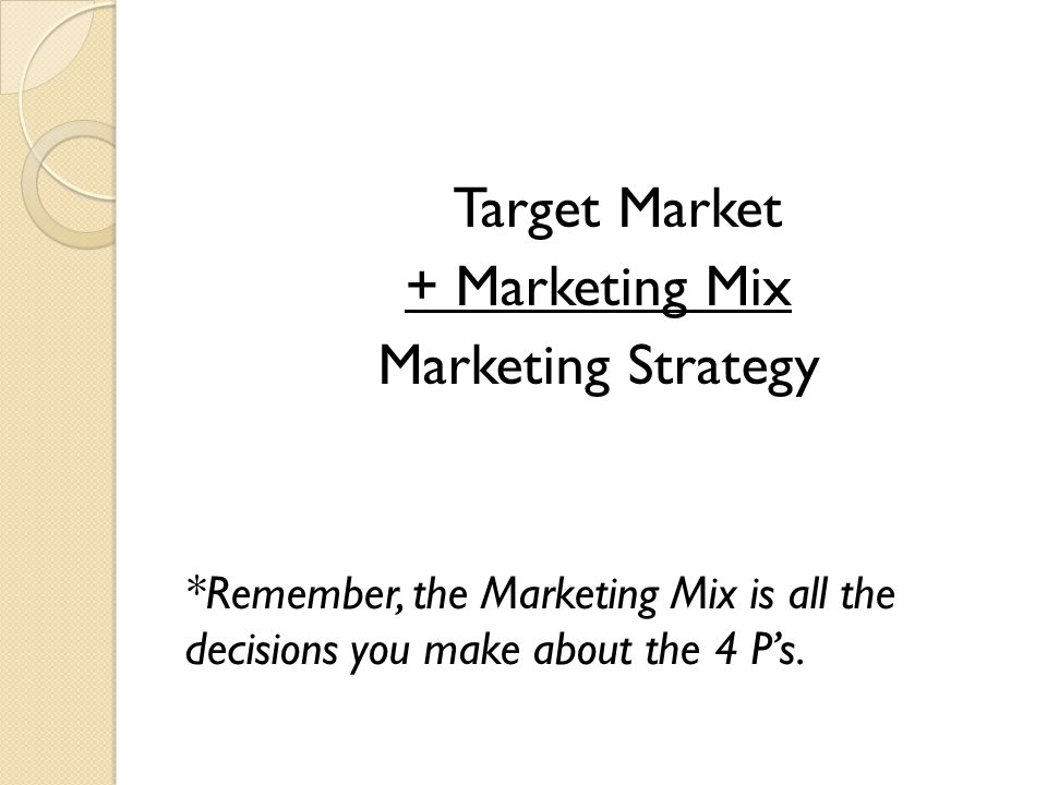 + Marketing Mix Marketing Strategy Target Market