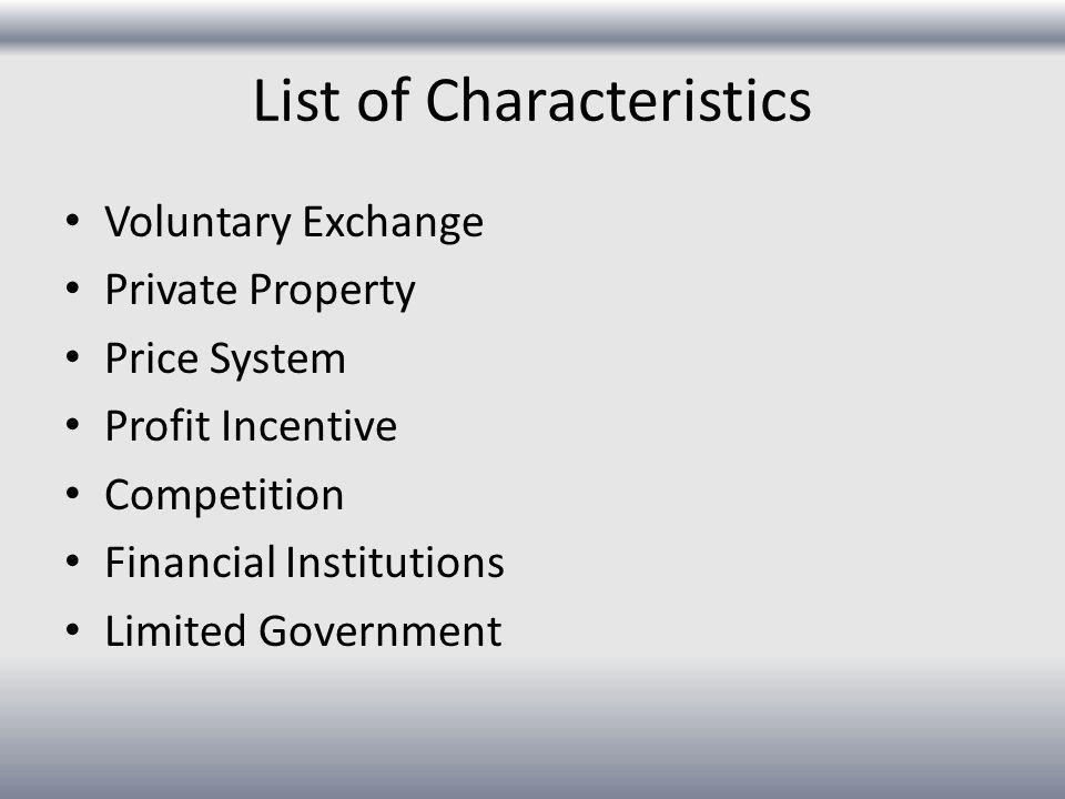 List of Characteristics