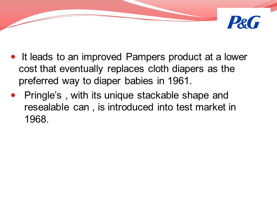 It leads to an improved Pampers product at a lower cost that eventually replaces cloth diapers as the preferred way to diaper babies in 1961.