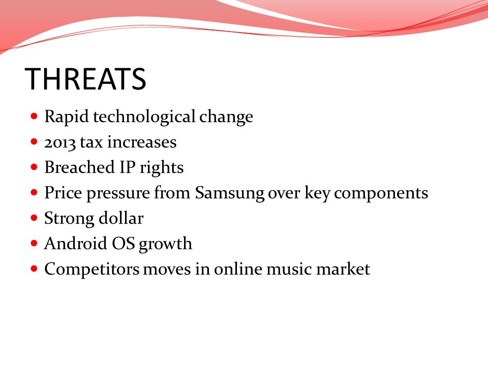 THREATS Rapid technological change 2013 tax increases