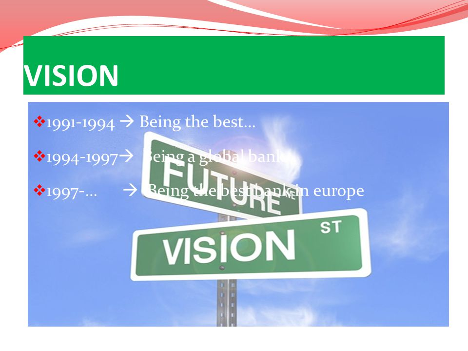 VISION 1991-1994  Being the best… 1994-1997 Being a global bank…