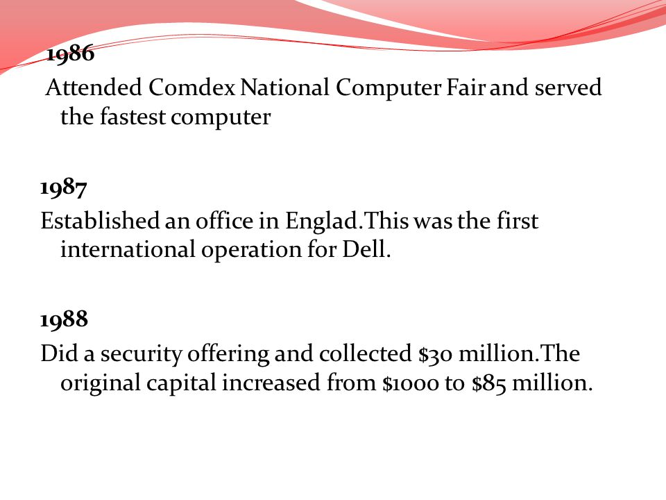 1986 Attended Comdex National Computer Fair and served the fastest computer 1987 Established an office in Englad.This was the first international operation for Dell.