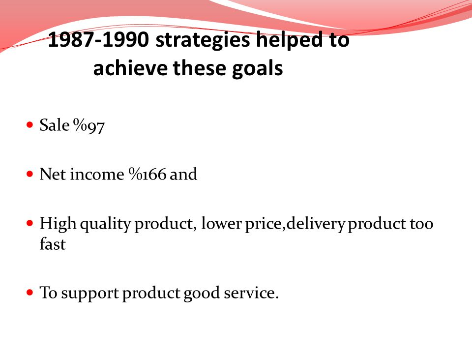 1987-1990 strategies helped to achieve these goals