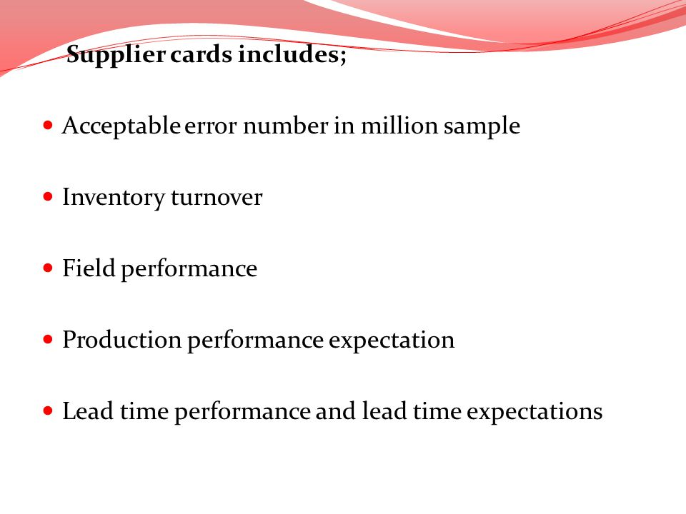 Supplier cards includes;