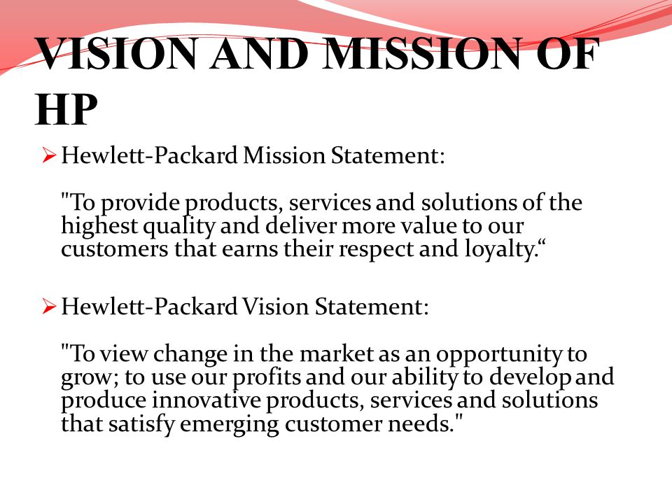 VISION AND MISSION OF HP