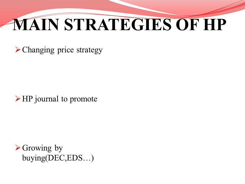 MAIN STRATEGIES OF HP Changing price strategy HP journal to promote