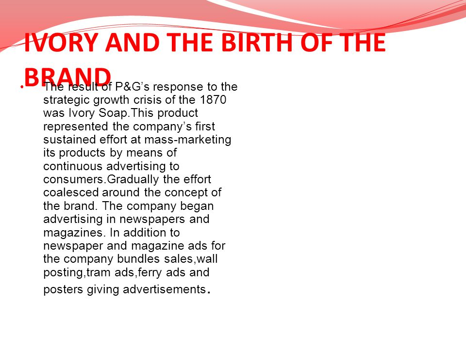 IVORY AND THE BIRTH OF THE BRAND
