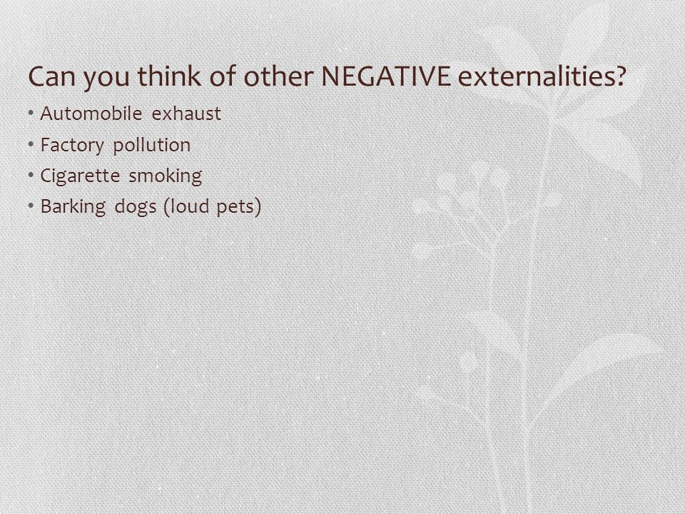 Can you think of other NEGATIVE externalities