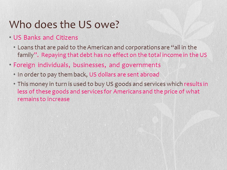 Who does the US owe US Banks and Citizens