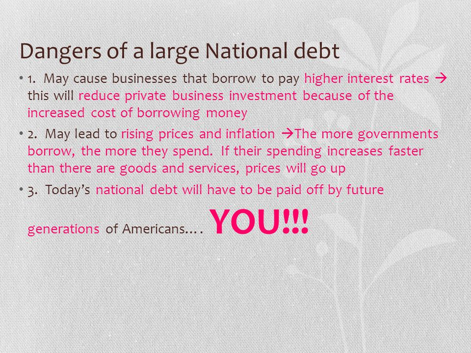Dangers of a large National debt