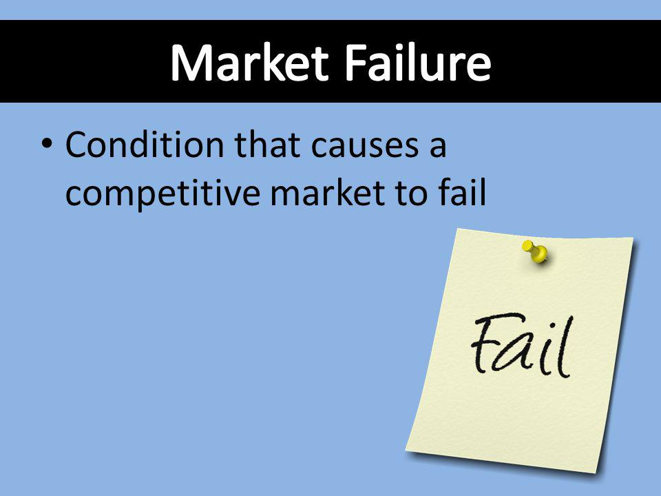 Market Failure Condition that causes a competitive market to fail