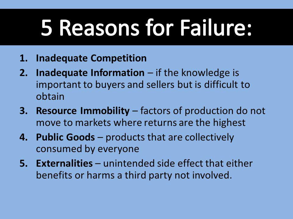 5 Reasons for Failure: Inadequate Competition