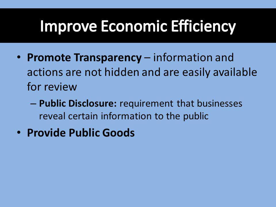 Improve Economic Efficiency