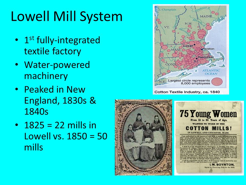 Lowell Mill System 1st fully-integrated textile factory