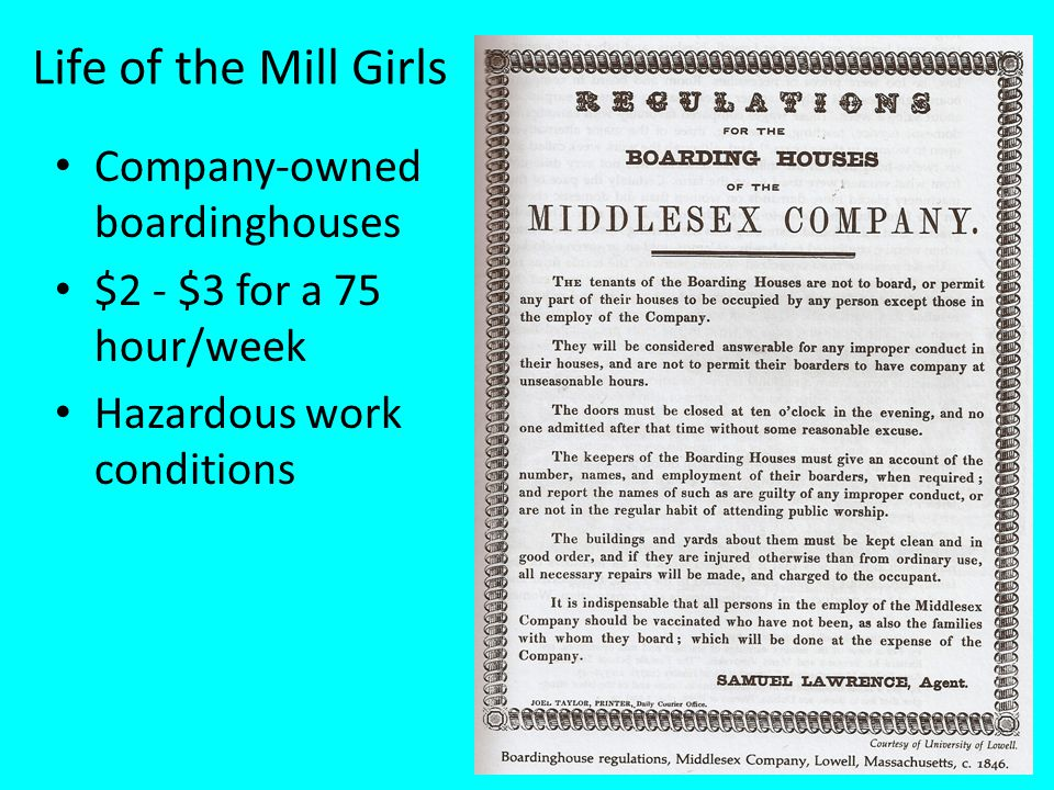 Life of the Mill Girls Company-owned boardinghouses