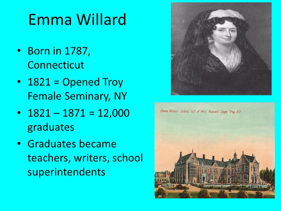 Emma Willard Born in 1787, Connecticut