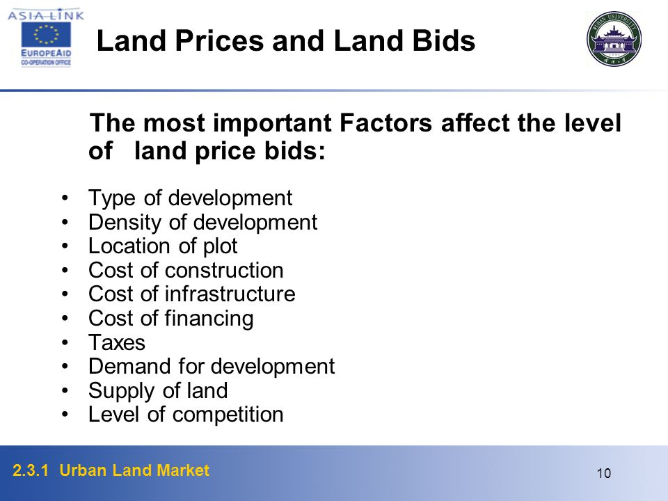 Land Prices and Land Bids