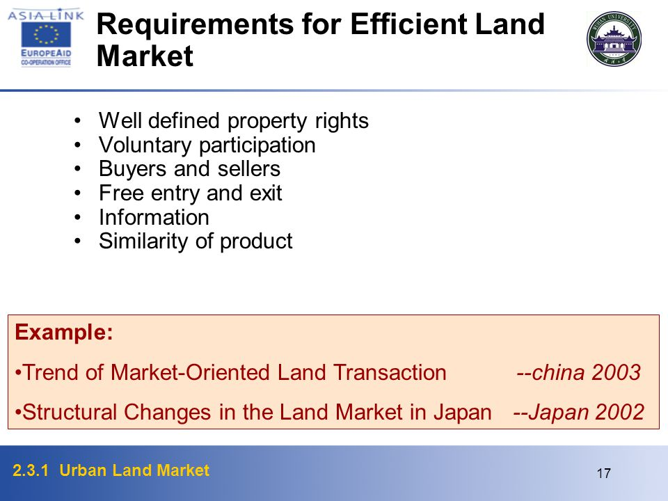 Requirements for Efficient Land Market