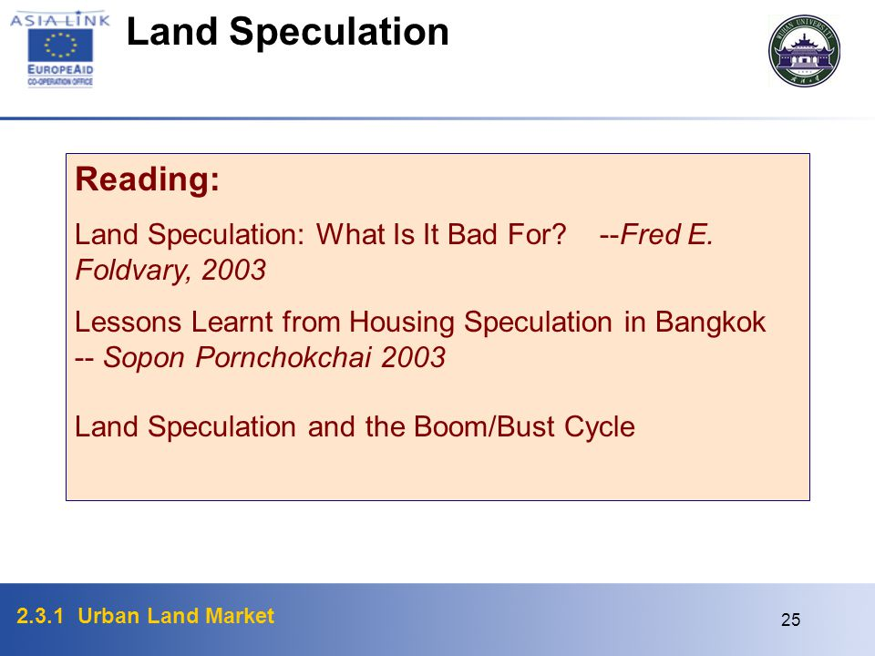 Land Speculation Reading: