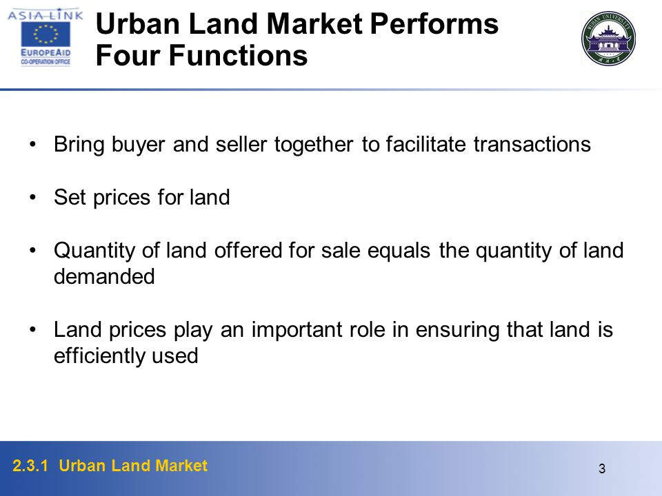 Urban Land Market Performs Four Functions