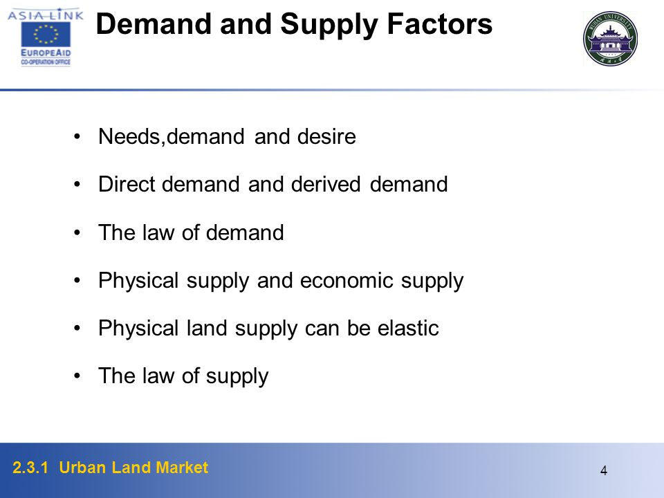 Demand and Supply Factors