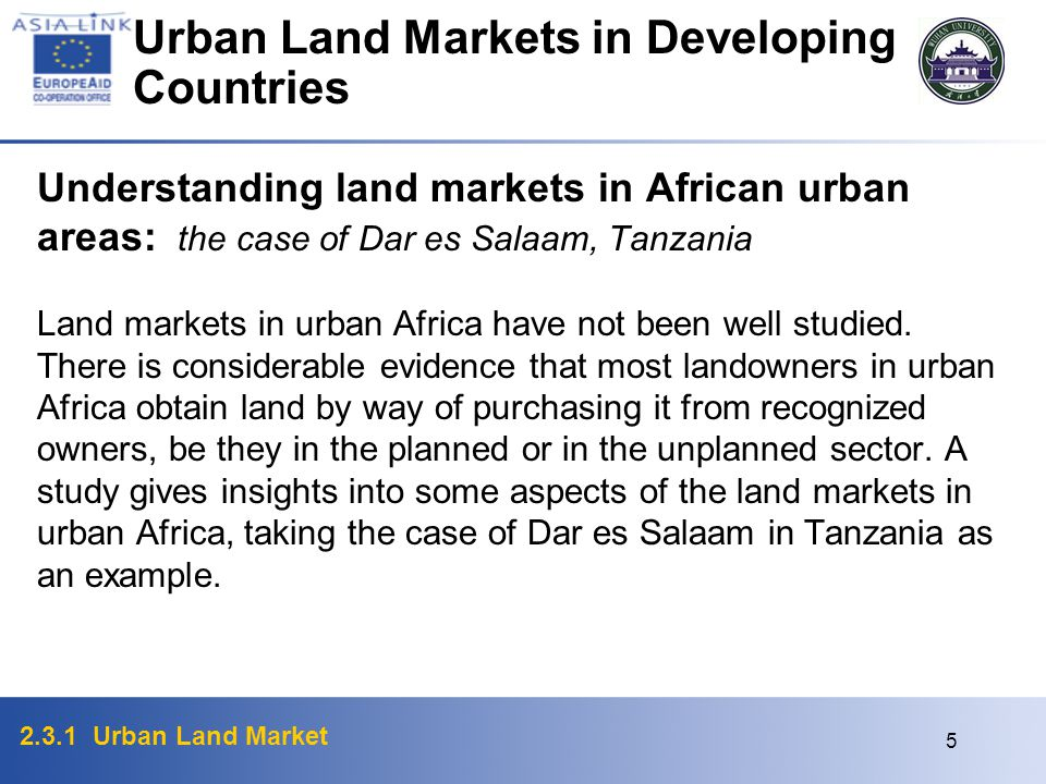 Urban Land Markets in Developing Countries