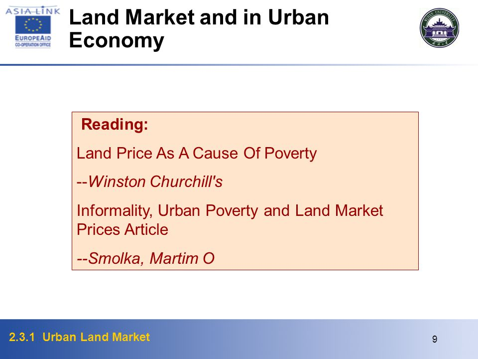 Land Market and in Urban Economy