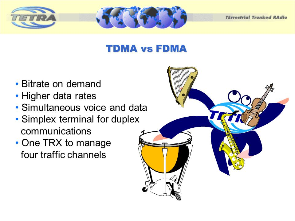 TDMA vs FDMA Bitrate on demand. Higher data rates. Simultaneous voice and data. Simplex terminal for duplex.