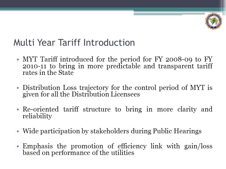 Multi Year Tariff Introduction