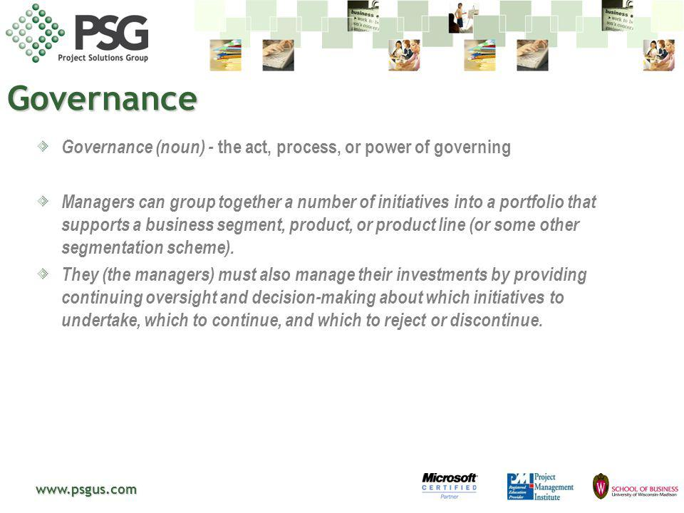 Governance Governance (noun) - the act, process, or power of governing