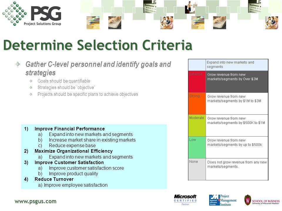Determine Selection Criteria