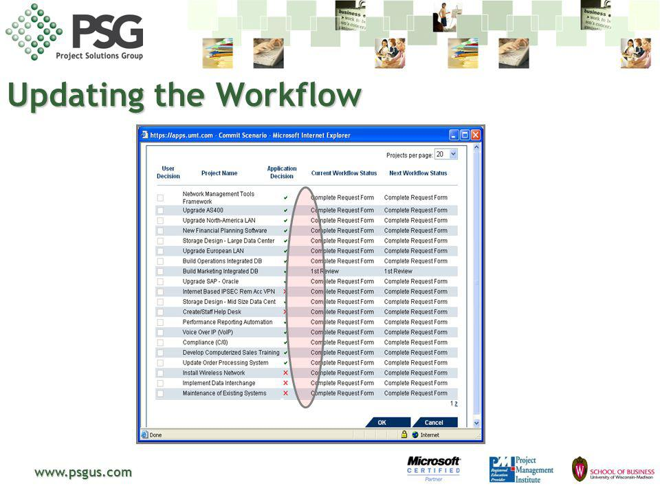 Updating the Workflow www.psgus.com