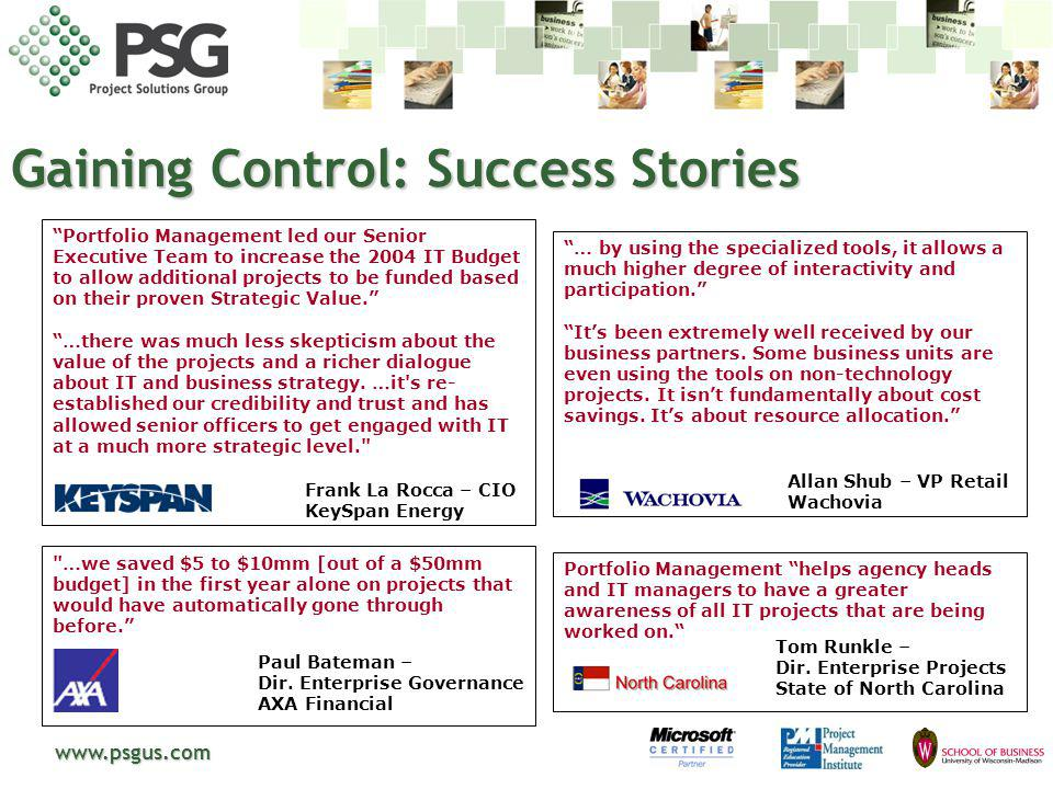 Gaining Control: Success Stories