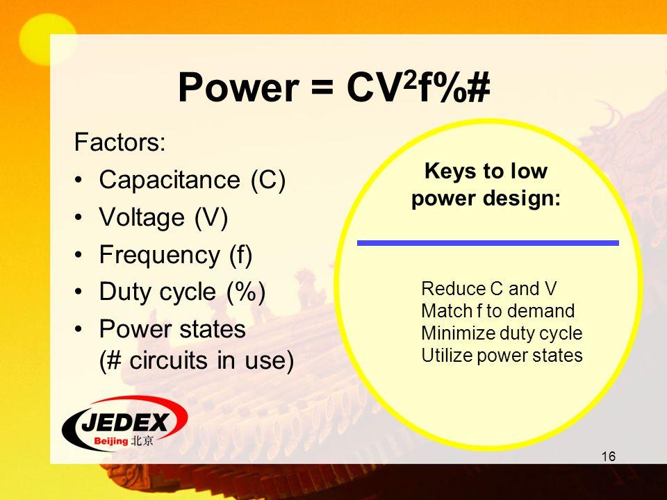 Keys to low power design: