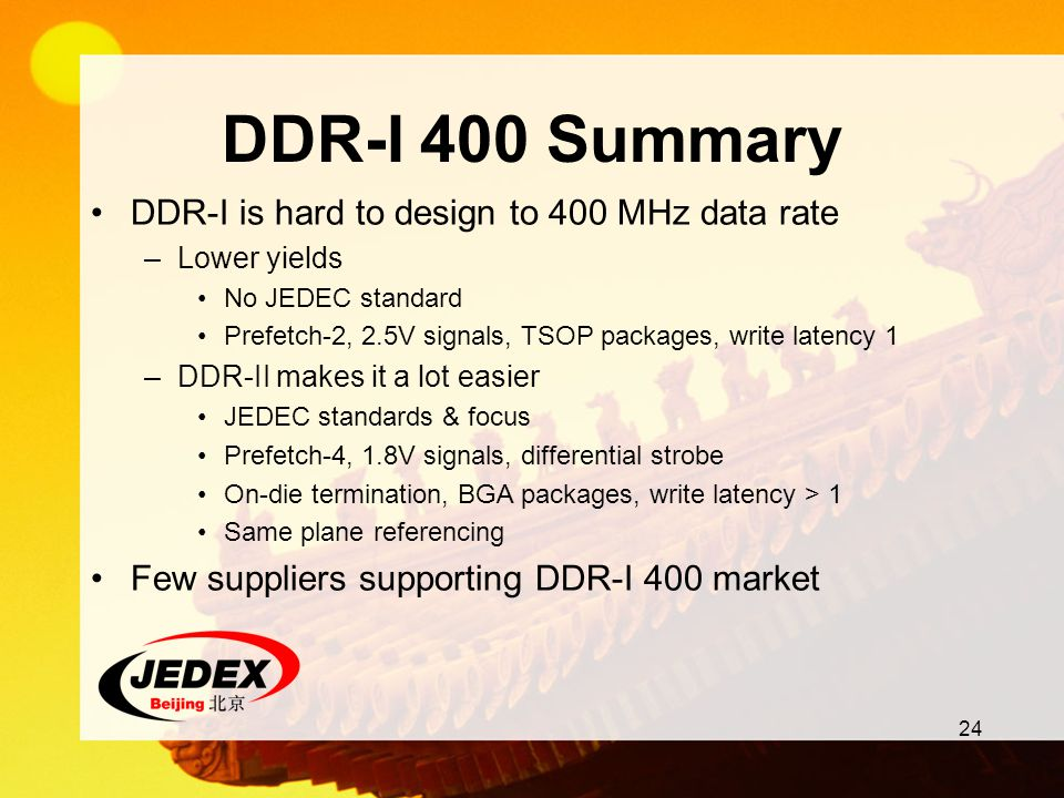 DDR-I 400 Summary DDR-I is hard to design to 400 MHz data rate