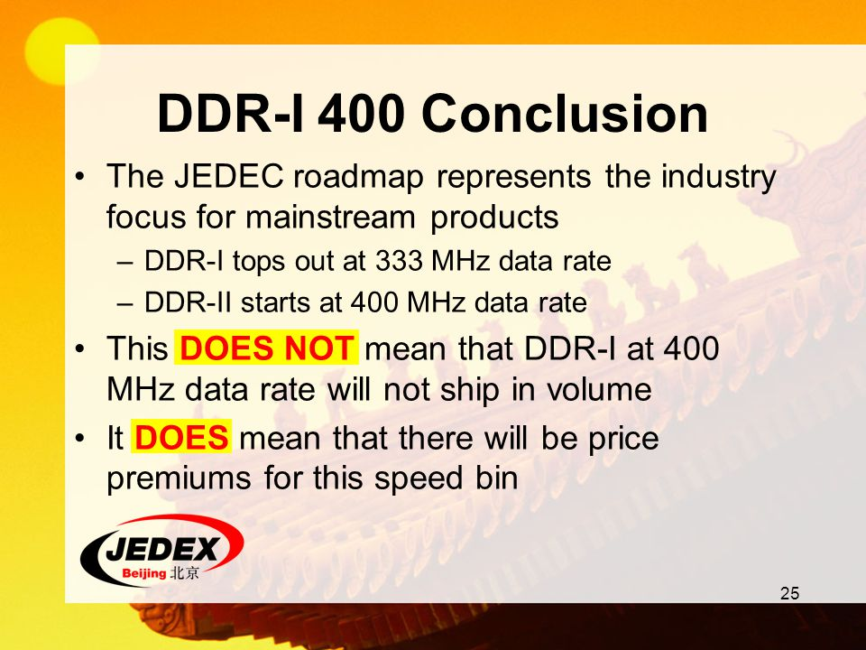 DDR-I 400 Conclusion The JEDEC roadmap represents the industry focus for mainstream products. DDR-I tops out at 333 MHz data rate.