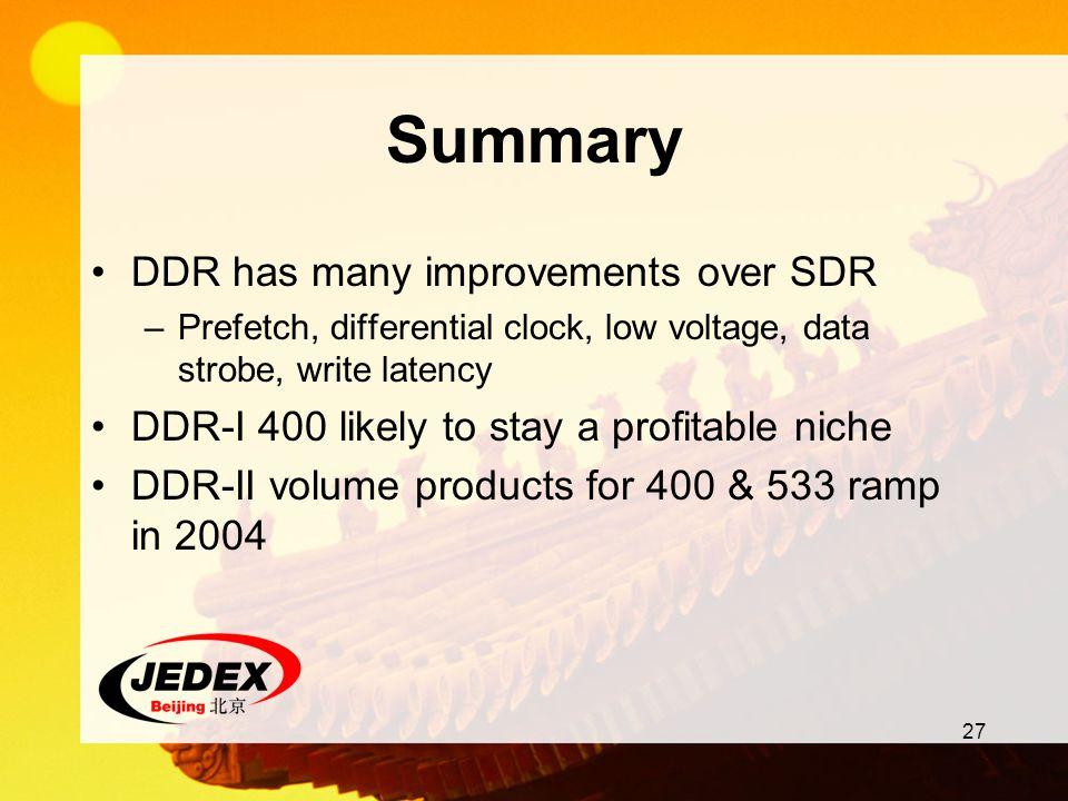 Summary DDR has many improvements over SDR