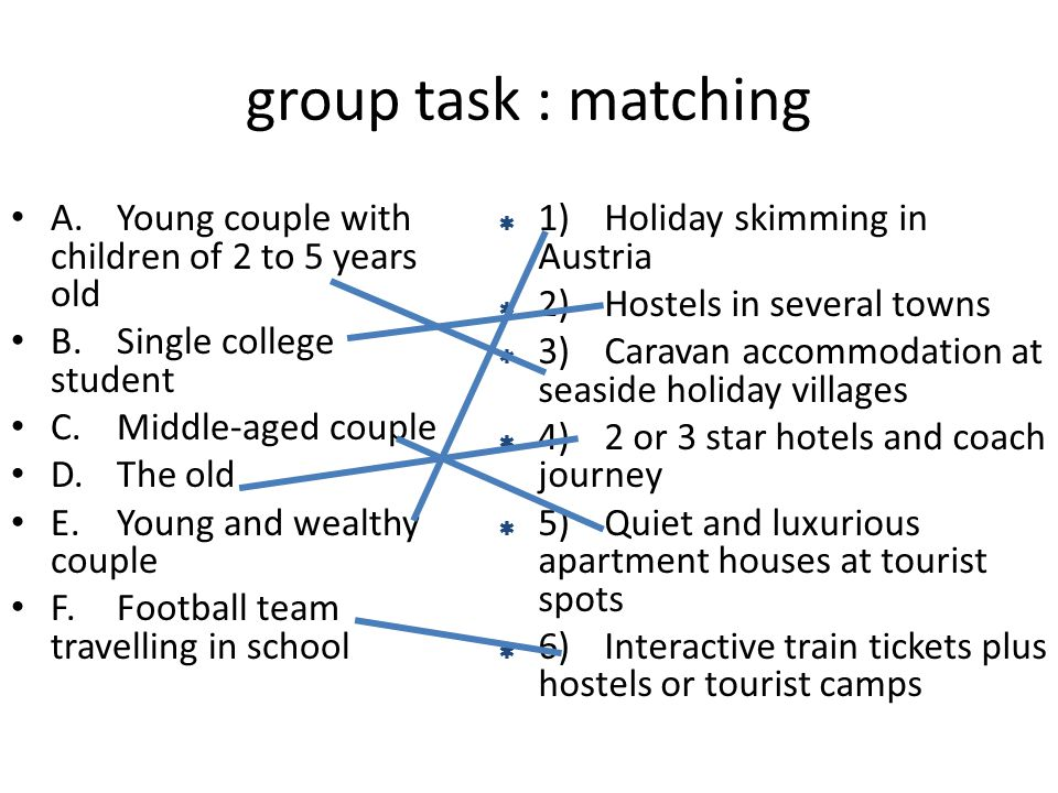 group task : matching A. Young couple with children of 2 to 5 years old. B. Single college student.