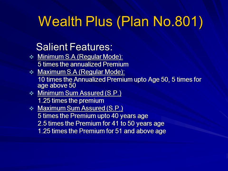 Wealth Plus (Plan No.801) Salient Features: