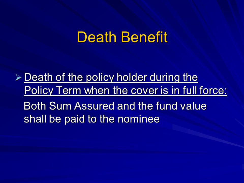 Death Benefit Death of the policy holder during the Policy Term when the cover is in full force: