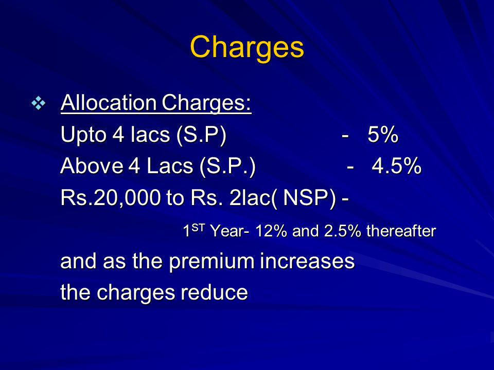 Charges Allocation Charges: Upto 4 lacs (S.P) - 5%