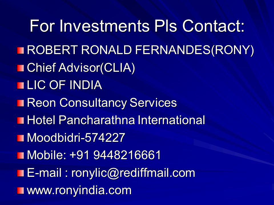 For Investments Pls Contact:
