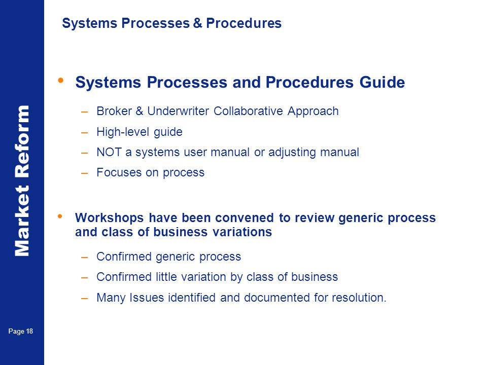 Systems Processes & Procedures