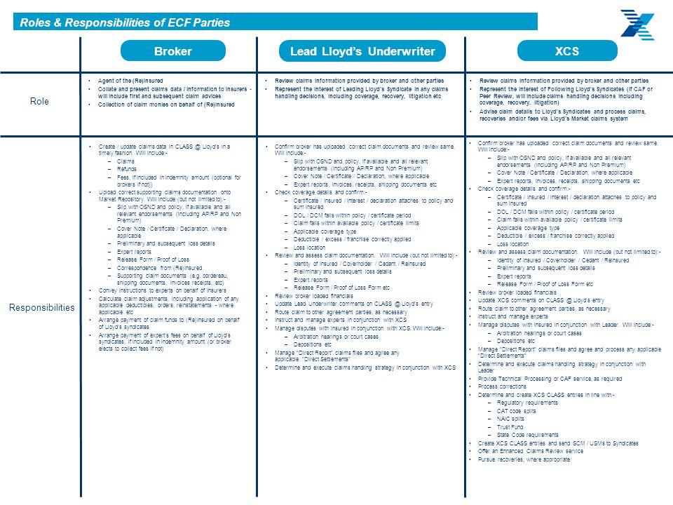 Roles & Responsibilities of ECF Parties