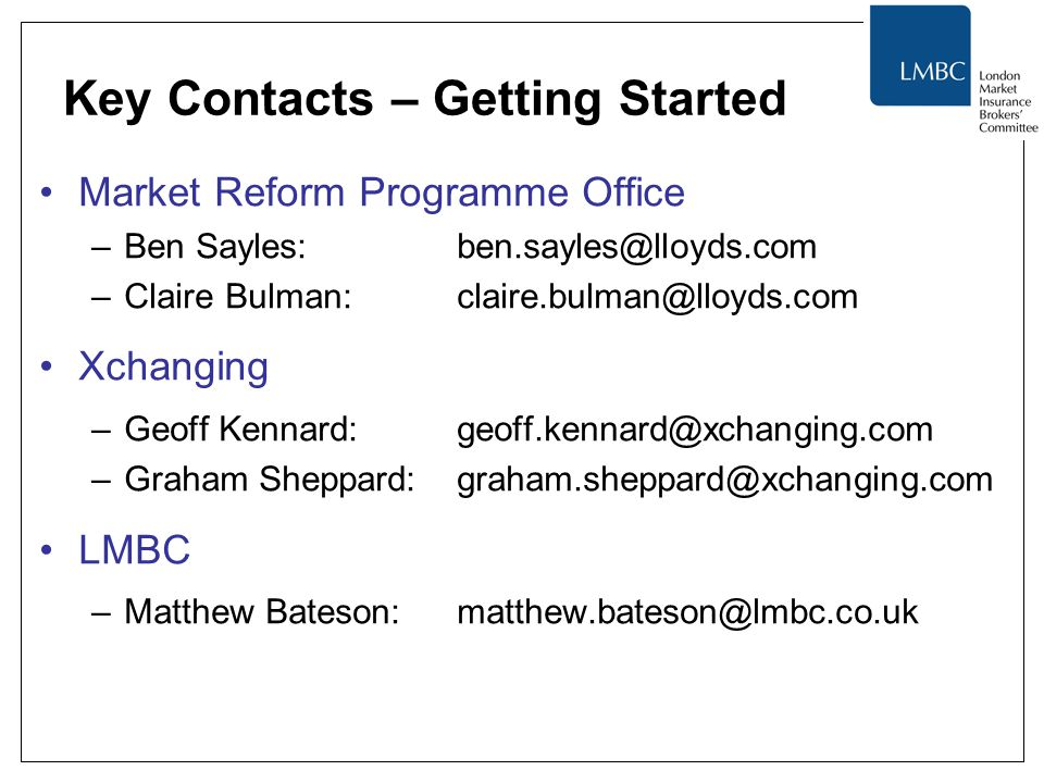 Key Contacts – Getting Started