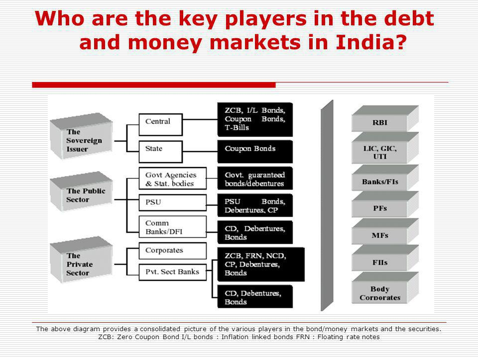 Who are the key players in the debt and money markets in India