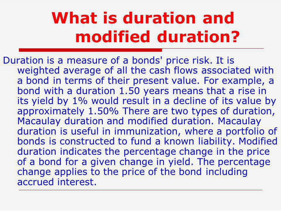 What is duration and modified duration