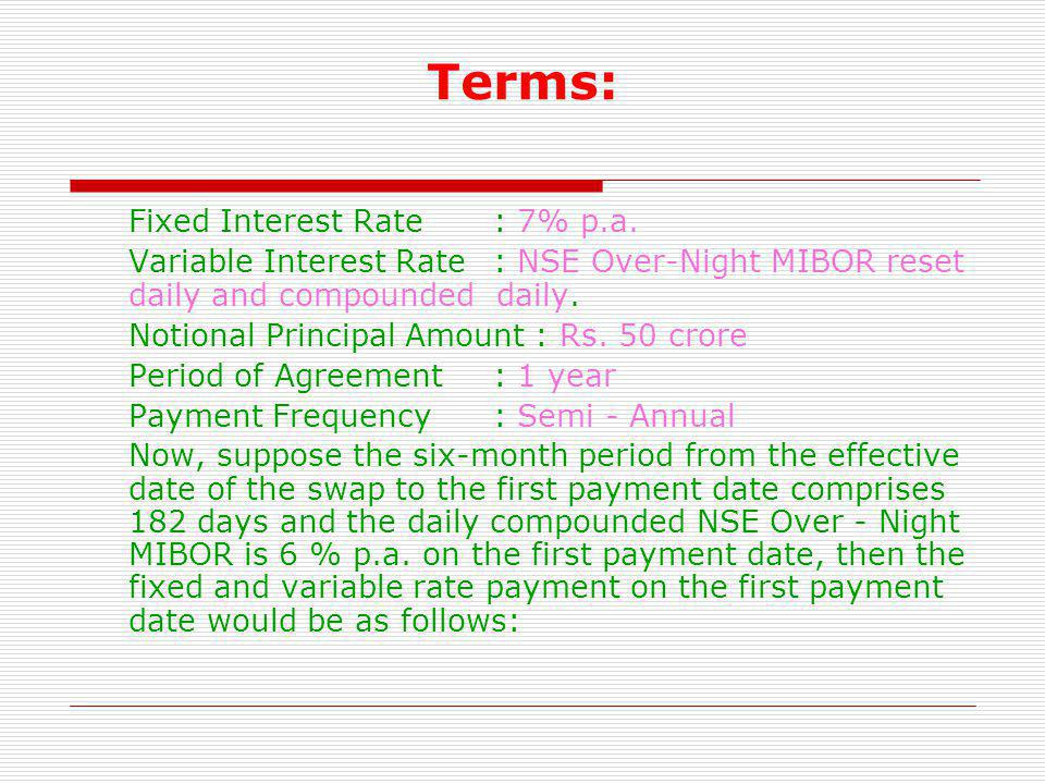 Terms: Fixed Interest Rate : 7% p.a.