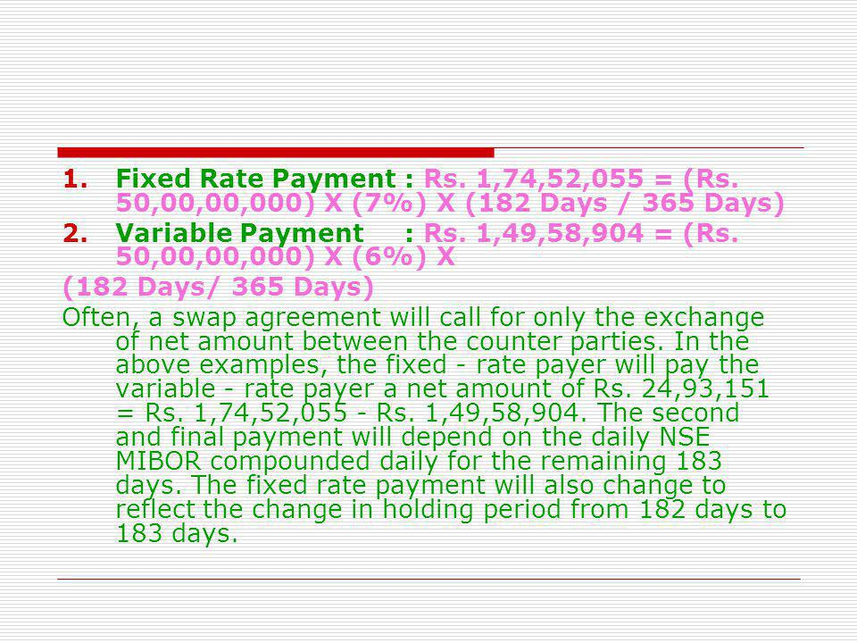 Fixed Rate Payment. : Rs. 1,74,52,055 = (Rs